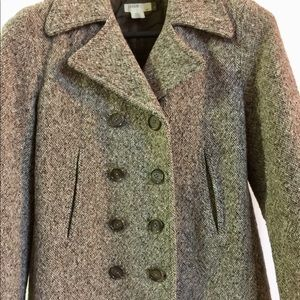 J CREW Tan Wool Blend Winter Coat Double Breasted